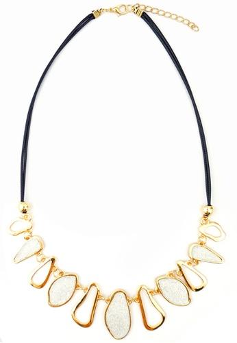 YOUNIQ gold YOUNIQ-Basic Eve Diamante Geometric Statement Necklace (White) YO999AC30THDMY_1