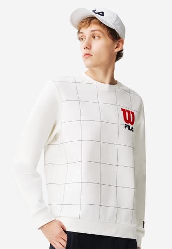 FILA white FILA x Wilson Logo Checked Sweatshirt 860F4AA0817B3AGS_1