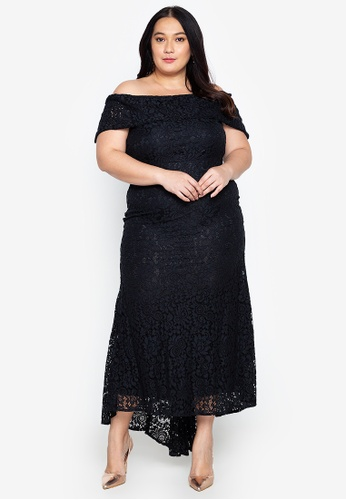 Plus Size Lace Off Shoulder Mermaid Hem Formal Maxi Dress