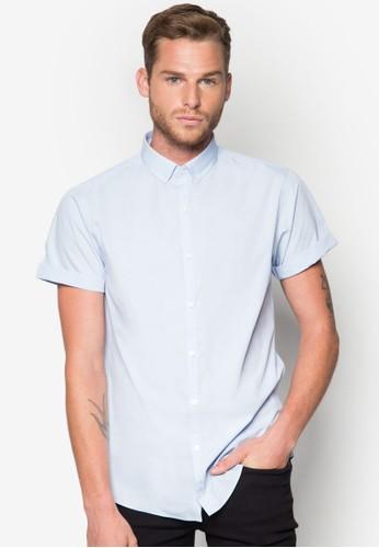Blue Stretch Short Sleeve Smart Shirt, 服飾, 素esprit outlet 香港色襯衫