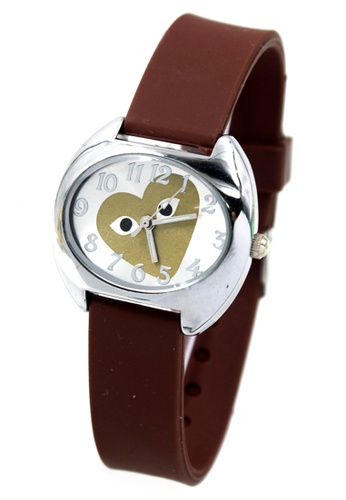 World of Watches brown Play Heart Silicon Strap Watch 3028L WO566AC58DXTPH_1