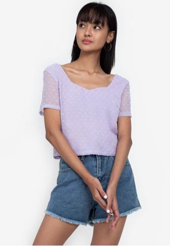 ZALORA BASICS purple Sweetheart Neckline Short Sleeve Top 40C3EAA0DB4EAAGS_1