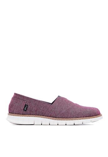 MIT。POLYMAX除臭鞋墊。牛仔布。懶人休閒鞋-09379-酒紅, 鞋esprit outlet 高雄, 休閒鞋