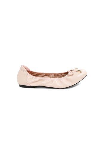 prettyFIT pink Pink Leather Ballerinas With Elasticized Topline With Padded Insoles C84F0SHECAD88AGS_1