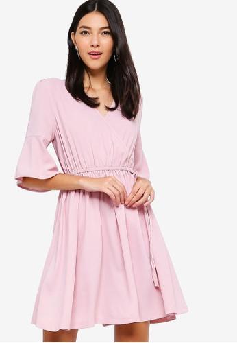 ZALORA pink Trim Detail Overlap Dress 83782AA8C0C5BEGS_1