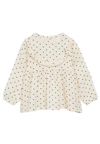 MANGO BABY white Polka-Dot Blouse With Ruffles AC42CKA3839426GS_1