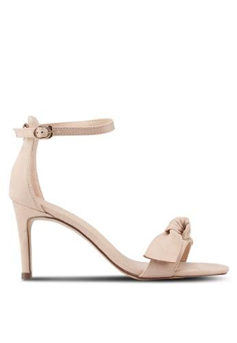 Velvet beige Ribbon Ankle Strap Heels 28A32SH0B18E5FGS_1