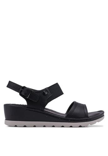 Bata 黑色 繞帶楔型鞋 0E819SH321BF7EGS_1