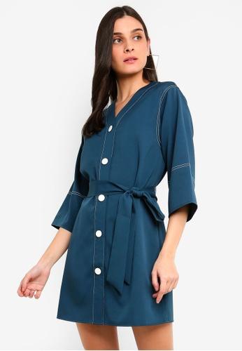 ZALORA green Contrast Stitches Details Dress A1B16AA904B356GS_1