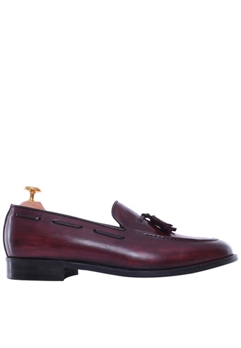 Zeve Shoes red Zeve Shoes Tassel Loafer - Red Burgundy (Hand Painted Patina) E0557SH1D2C9C8GS_1