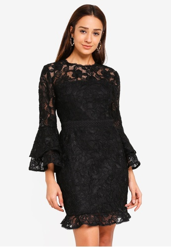 Forever New black Jane Lace Flare Sleeve Dress 2FF28AAD761D5EGS_1