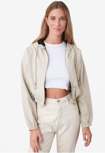 Trendyol beige Water Repellent Cropped Hooded Jacket 91AB4AAF444645GS_1