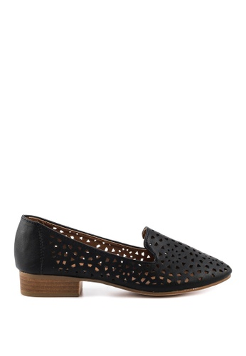 London Rag black London Rag Women's Laser Cut Round Toe Black Flats SH1073 LO360SH0GV0PSG_1