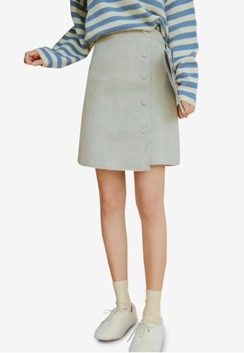 Shopsfashion grey Asymmetrical Skirt 0B509AA6F052DBGS_1