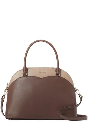 KATE SPADE 米褐色 and 褐色 Kate Spade Payton Colorblock Medium Dome Satchel Bag in Neutral Multi C8F11AC93EAA9BGS_1