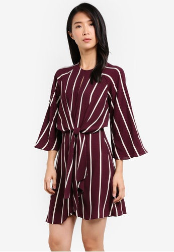 TOPSHOP red Mono Stripe Knot Front Dress TO412AA0SD6IMY_1