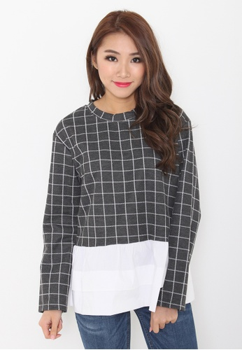 Leline Style grey and white Zoe Grid Shirt FF9F3AAD735D0EGS_1