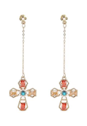 Red's Revenge gold Bejewelled Cross Dangle Earrings C1B05AC0745032GS_1