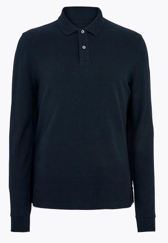 MARKS & SPENCER navy M&S Pure Cotton Long Sleeve Polo Shirt 8505FAA3FBF508GS_1