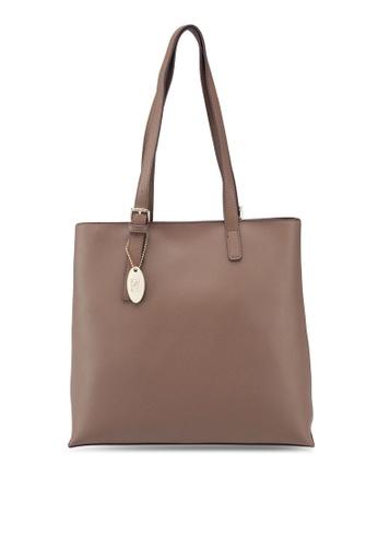 Perllini Mel brown Faux Leather Double Handle Shoulder Bag  5B64FACF65C195GS 1 c0bb2da6f6c31