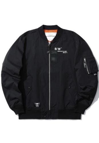 :CHOCOOLATE black Graphic print bomber jacket AF69AAAFBCAD45GS_1