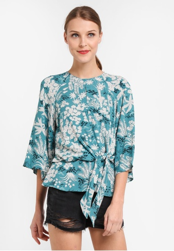 TOPSHOP blue Oriental Knot Front Blouse 5954BAAFB8CD2BGS_1