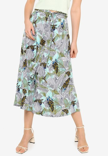 Brave Soul green Button Side Detail Midi Skirt F4ED5AA2F845ABGS_1