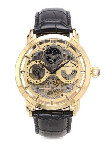 Stuhrling Original black Black Alligator Leather Watch 390C0AC700ABBBGS_1