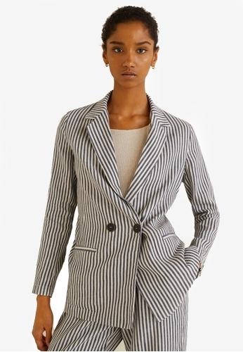 MANGO beige Striped Linen Blazer 253FFAAA70F229GS_1
