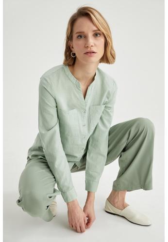 DeFacto green Woman Woven Long Sleeve Shirt 968C6AAA874724GS_1