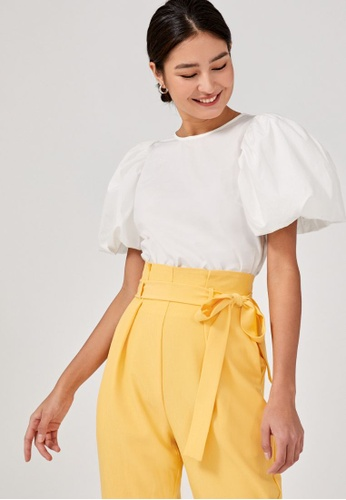 Love, Bonito white Linde Ruched Puff Sleeve Top 3605FAA9804918GS_1
