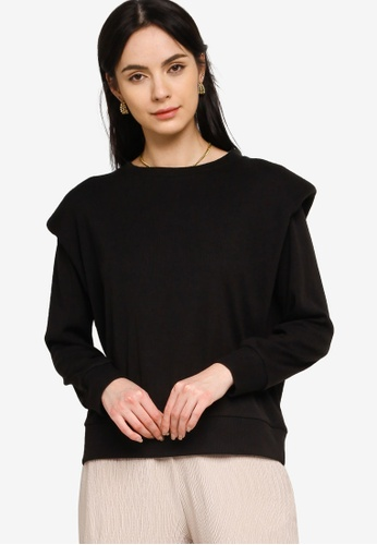 Zalia black Knitted Top With Shoulder Pad 2D997AAF7DF6D3GS_1
