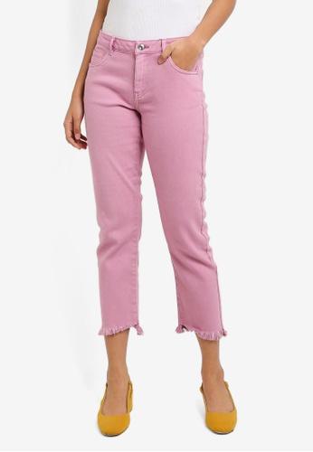 ONLY pink Gunvor Reg Straight Pink Denim Boyfriend Jeans 58966AA45F9A36GS_1