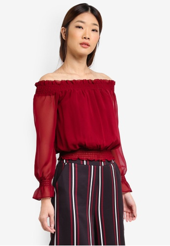 Something Borrowed red SMOCKED OFF SHOULDER CROP TOP FBC3CAAFFE4218GS_1