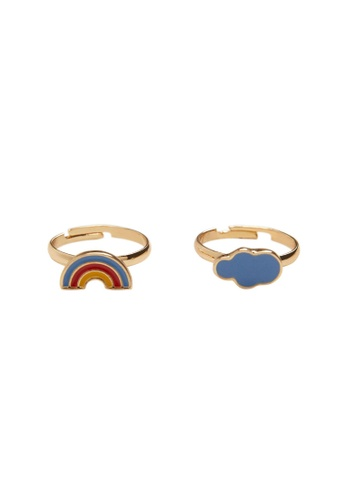 MANGO KIDS gold 2-Pack Combined Rings 55F03KC48A475DGS_1