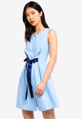 ZALORA BASICS blue Basic A-Line Dress With Tie Waist 5B721AA69722CEGS_1