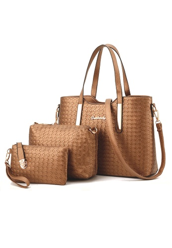 LULUGIFT gold Euro Spring Beauty PU Leather Weave Gold Bag 3in1 set LU989AC76YQPMY_1
