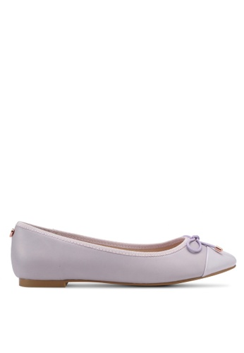 Velvet purple Patent Toe Cap Ballerinas with Bow B3FD9SHFAA3635GS_1