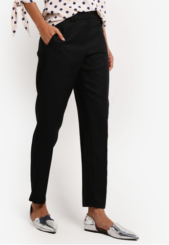 Dorothy Perkins black Regular Rivet Slim Pique Trousers DO101AA0ITXUPH_1