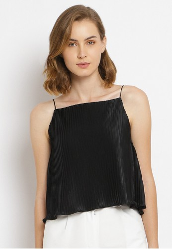BLUES AND BLUSH black Classic Thin Strap in Pleats Nala Top A87B8AA479AD45GS_1
