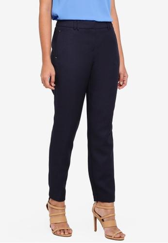 Dorothy Perkins navy Regular Textured Slim Trousers A27B2AA35982C6GS_1