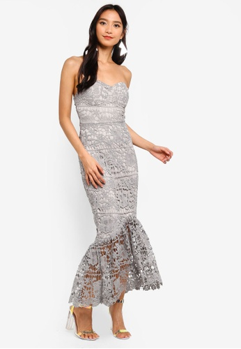 MISSGUIDED grey Lace Bandeau Bust Cup Midi Dress A2BFBAA4237B85GS_1