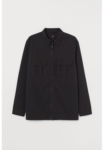 H&M black Nylon shirt jacket F42E0AAAC200E6GS_1