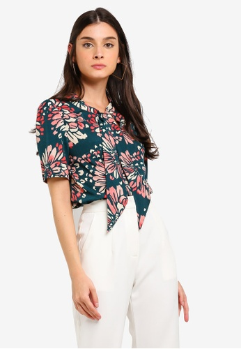 26dc14f7d8 Buy ZALORA Short Sleeves Bow Tie Blouse