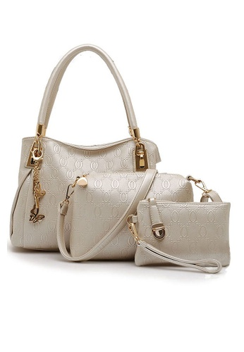 LULUGIFT white Set of 3 European design Leather Handbag white LU989AC07FKIMY_1