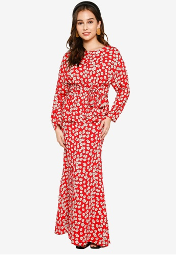 Lubna white and red Belted Drop Shoulder Kurung 391C3AA9137B78GS_1