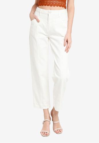 Trendyol white White Panel Detail High Waist Straight Jeans 59AD8AA327C966GS_1