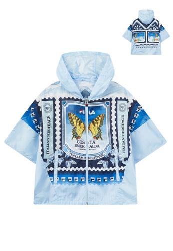FILA blue FILA Logo Mediterranean Theme Print Cloak Jacket 66AF7AA7C679BFGS_1