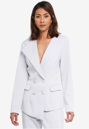 Lavish Alice grey Double Breasted Asymmetric Tuxedo Jacket LA457AA0SSPUMY_1