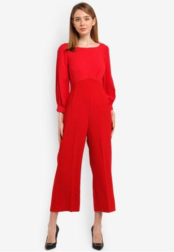 CLOSET red 2-In-1 Puff Sleeve Jumpsuit 3E95DAA29CA3ECGS_1
